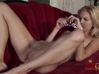 Masturbating blonde Franziska Facella rubbing her clit with vibrator-1